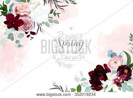 Luxury Flowers Vector Frame. Pink Orchid, Rose, Ranunculus, Burgundy Red Peony, White Hydrangea And