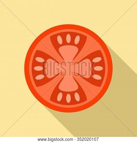 Cutted Garden Tomato Icon. Flat Illustration Of Cutted Garden Tomato Vector Icon For Web Design