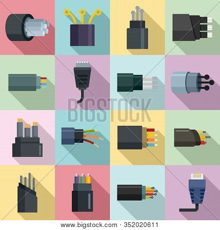 Optical Fiber Icons Set. Flat Set Of Optical Fiber Vector Icons For Web Design