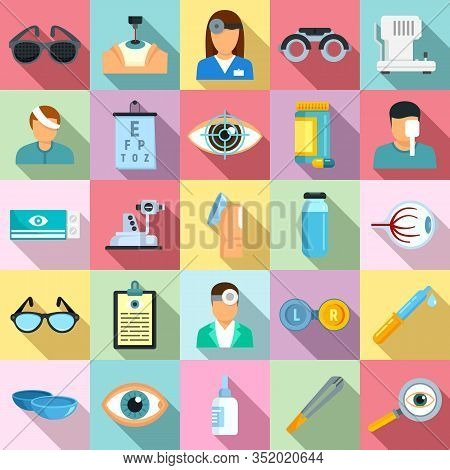 Eye Examination Icons Set. Flat Set Of Eye Examination Vector Icons For Web Design