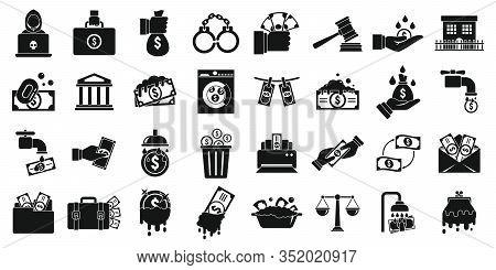 Money Laundering Icons Set. Simple Set Of Money Laundering Vector Icons For Web Design On White Back