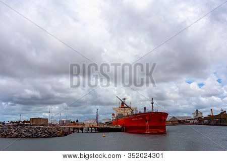 Mackay, Queensland, Australia - February 2020: The Ship Manchac Sun Moored At The Port Wharf Ready T