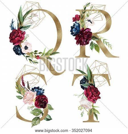 Floral Alphabet Set - Letters Q, R, S, T, With Flowers Bouquet Composition And Delicate Gold Geometr