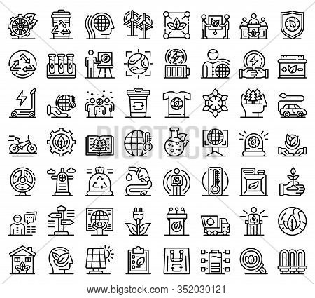 Ecologist Icons Set. Outline Set Of Ecologist Vector Icons For Web Design Isolated On White Backgrou