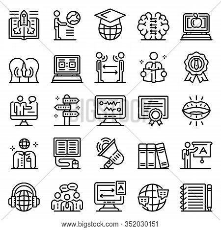 Foreign Language Teacher Icons Set. Outline Set Of Foreign Language Teacher Vector Icons For Web Des