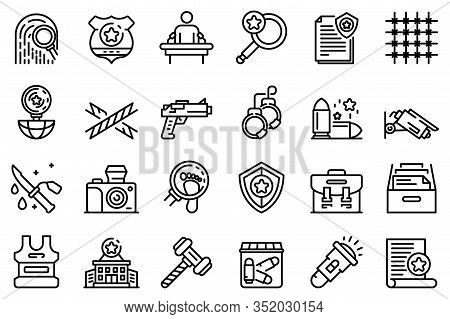 Investigator Icons Set. Outline Set Of Investigator Vector Icons For Web Design Isolated On White Ba