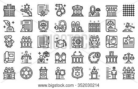 Prosecutor Icons Set. Outline Set Of Prosecutor Vector Icons For Web Design Isolated On White Backgr