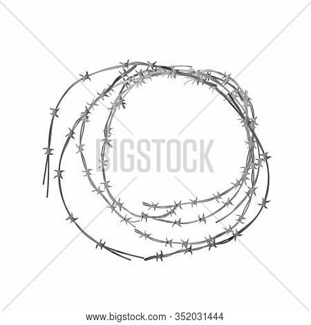 Tangled Hank Of Metal Barbed Wire On White