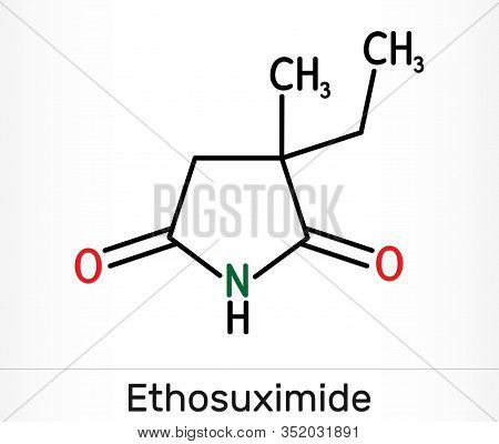 Ethosuximide, C7h11no2 Molecule. It Is Succinimide Based Anticonvulsant, Useful In The Treatment Of