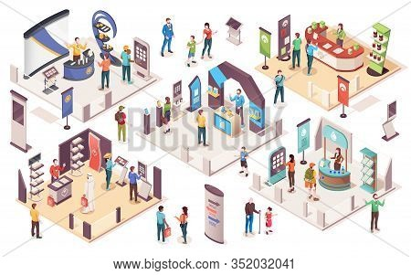 People At Expo Or Business Exhibition, Isometric Icons. Technology And Business Exhibition With Prod