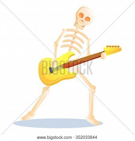 Skeleton Playing Guitar Icon. Cartoon Of Skeleton Playing Guitar Vector Icon For Web Design Isolated