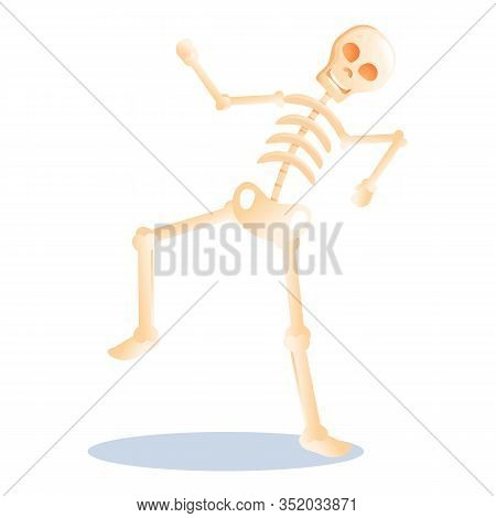 Smiling Skeleton Icon. Cartoon Of Smiling Skeleton Vector Icon For Web Design Isolated On White Back