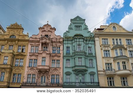 Colorful Historic Buildings On Main Square, Pilsen, Czech Republic.