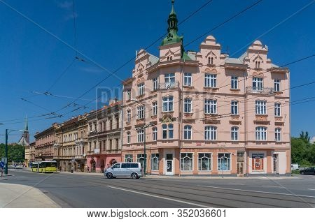 Pilsen, Czech Republic - May 26, 2018: Pilsen Or Plzen Cityscape With Old Historic Buildings And Tra