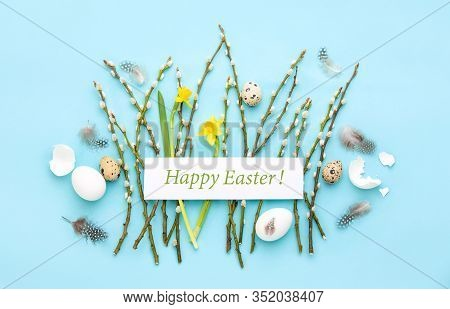 Easter Greeting Card Or Banner Template Concept, Holiday Botanical Flat Lay Arrangement With Greetin