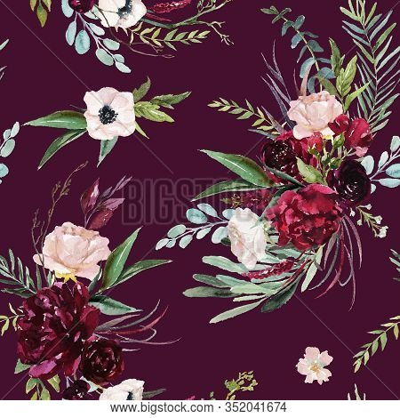 Watercolor Seamless Pattern. Floral Illustration - Burgundy, Pink, Blush Flowers Bouquets On Burgund