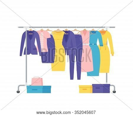 Clothes Rack. Vector. Cloth On Hangers. Show Room. Business Women Clothing On White Background. Jack