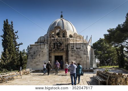 Bethlehem, Palestinian Authority, January 28, 2020: Angel On The Facade Of The Church In The Field O