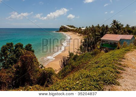 Beautiful Sunny Tropical Caribbean Beach Landscape Seascape Carlisle Bluff Antigua
