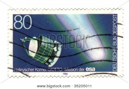 Germany - Circa 1986: A Stamp Printed In Germany, Shows A European Robotic Spacecraft