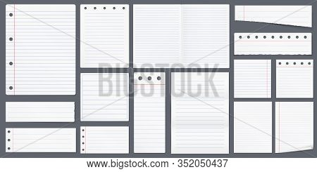 Set Of Blank Lined Paper, Notebook, A4 Paper, Vector Eps10 Illustration