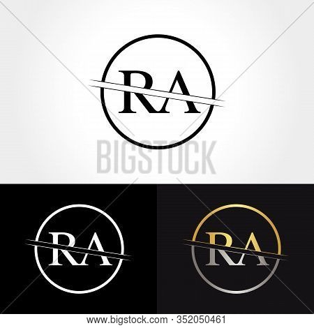 Abstract Letter Ra Logo Design Vector Template. Creative Gold And Silver Colors Ra Letter Logo Desig
