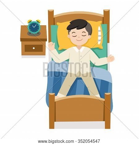 A Little Boy Sleeping On Tonight Dreams, Good Night And Sweet Dreams.isolated Vector.