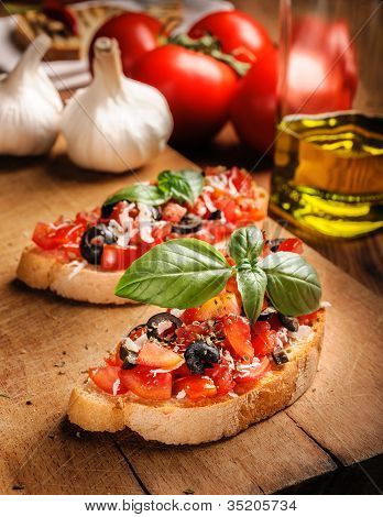 Italian Appetizer - Bruschetta with tomatoes