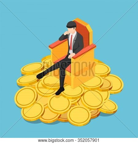 Flat 3d Isometric Successful Businessman Sitting On Throne Atop Gold Coin. Business Success Concept.
