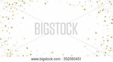Gold Stars Random Luxury Sparkling Confetti. Scattered Small Gold Particles On White Background. Ext