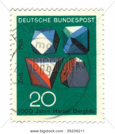 Germany - Circa 1969: Stamp Printed By Germany, Shows Rocks And Minerals, Circa 1969