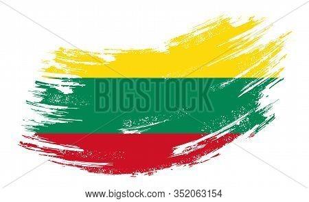 Lithuanian Flag Grunge Brush Background. Vector Illustration.
