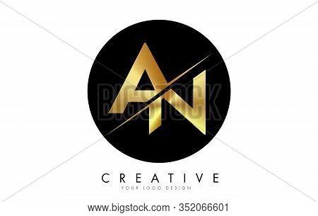 An A N Golden Letter Logo Design With A Creative Cut. Creative Logo Design With Black Circle Backgro