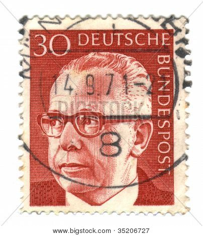 Germany - Circa 1971: A Stamp Printed In Germany Shows A Portrait Of Federal President Gustav Heinem