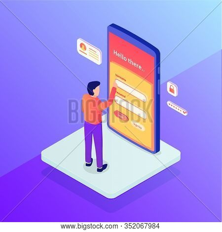 Login Concept With Security Username And Password People Standing Access With Isometric Flat Style V