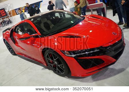 Philadelphia, Pennsylvania, U.s.a - February 9, 2020 - The Front View Of The Red Color Of 2020 Acura