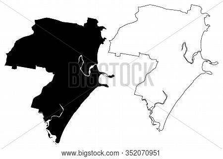 Coffs Harbour City, New South Wales (commonwealth Of Australia, Australia City) Map Vector Illustrat
