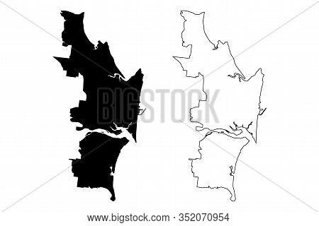 Mackay City, Queensland (commonwealth Of Australia, Australia City) Map Vector Illustration, Scribbl