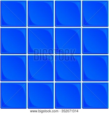 Typical Seamless Set Of Blue Ceramic Bathroom Or Restroom Wall Tiles With White Grout On A White Bac