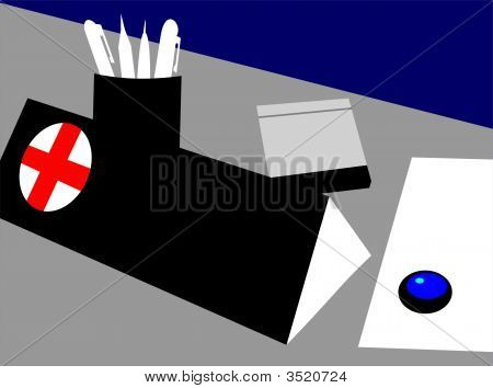 Illustration of a doctor's table in black background poster