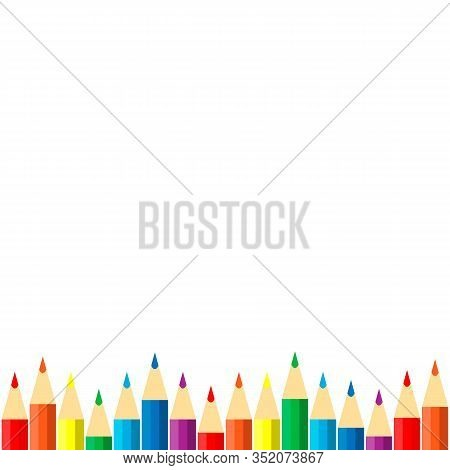 Vector Frame Of Colored Pencils Crayons. Colored Pencils Crayons Isolated On White Background.