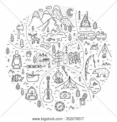 Map Of A Camping In The Forest With Basic Symbols, Trails And Places Of Rest. A Trip To Nature. Vect