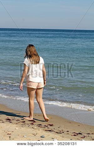 Teenage Girl On Beach