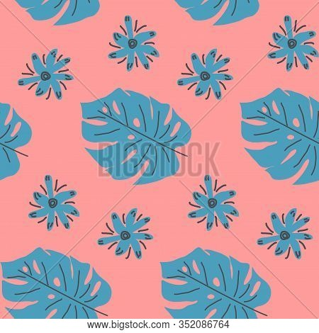 Exotic Leaves Hand Drawn Seamless Pattern. Tropical Plant Drawing. Scandinavian Style Backdrop. Bana
