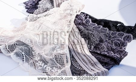 Beautiful Lacy Panties Isolated On White , Beautiful Female Lacy Black Panties Isolated On White Bac