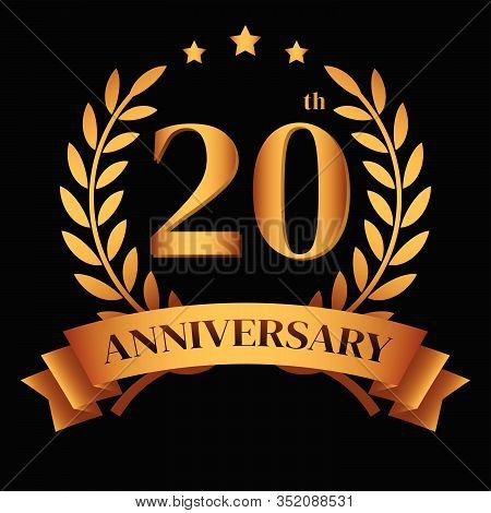 20th Golden Anniversary Logo,with Laurel Wreath And Gold Ribbon Vector Illustration