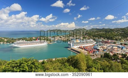 Castries, St Lucia - November 7: Cruise Ships Carnival Valor And P&o Ventura Docked In Castries On N