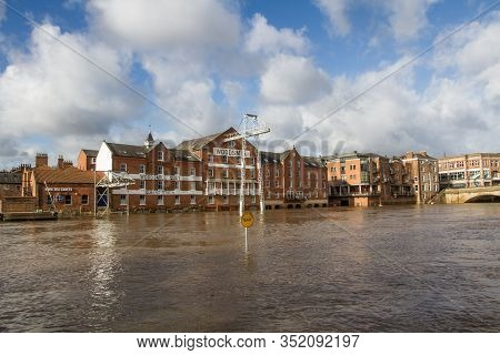 York, Yorkshire, Uk - February 22, 2020.  A Landscape View Of The Flooded Streets Of York After The