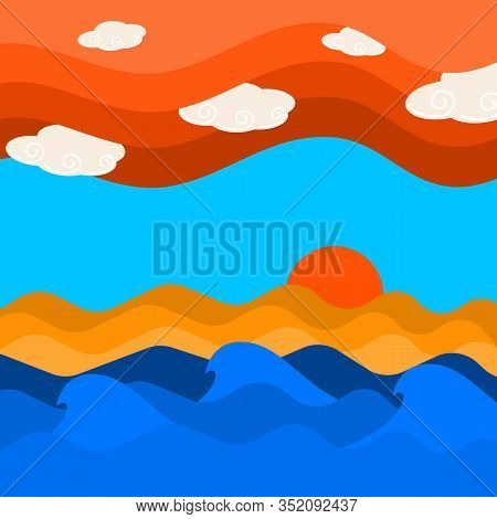 Sea Wave And Cloud On Sky With Sunset Background, Sky And Sea Scape Texture Vector Illustration And