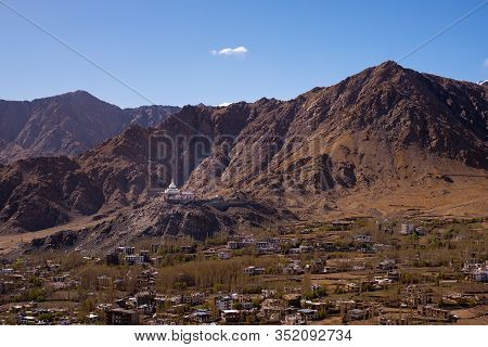Shanti Stupa On Hilltop And View Of Leh City With Mountain Range Background Located In Ladakh, Jammu